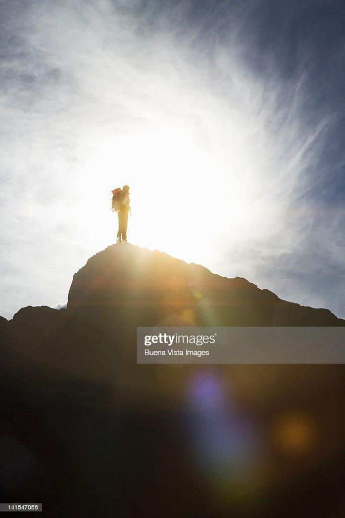 Climber on the Top of Matterhorn : Stock Photo