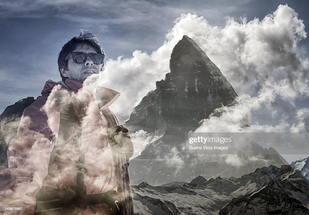 climber over mountains. Double exposure : Stock Photo