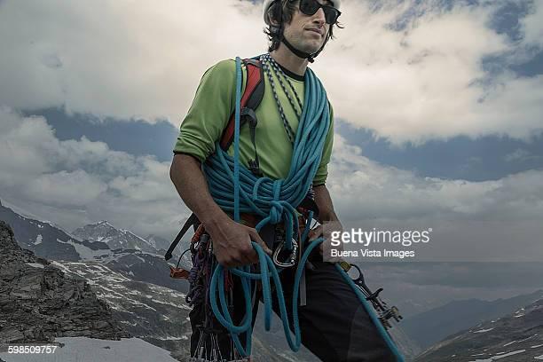Climber preparing for a climb