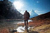 Climber watching Matterhorn