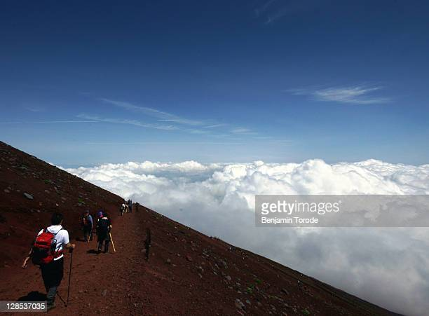Climbers descend Mount Fuji