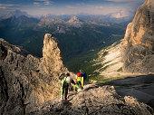Climbers ion a rocky wall