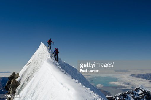 Climbers on summit ridge of Aoraki (Mt Cook)