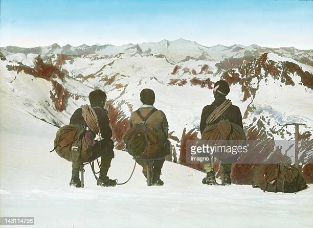 Climbers on the top of the Grossglockner Salzburg Austria Hand colored lantern slide Around 1920