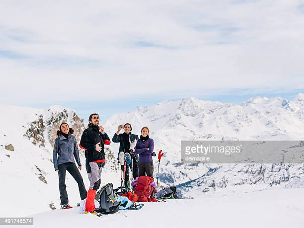 Climbers relax at top of mountain