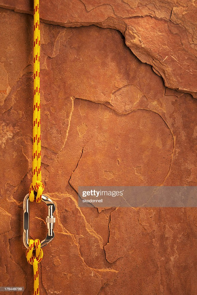 Climbing Equipment on a Red Rock