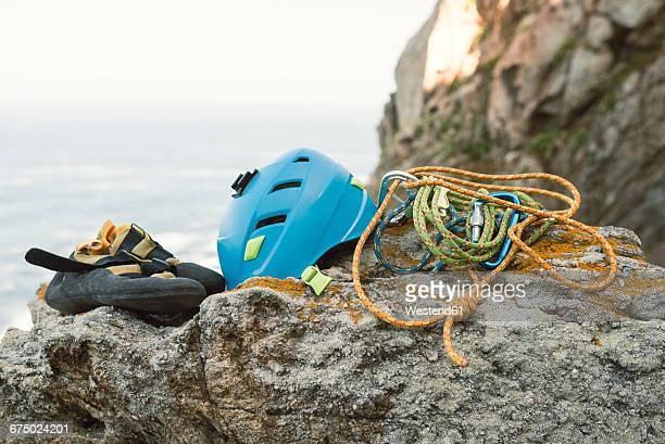 Climbing equipment on rock