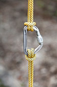 Rock climbing carabiner with ropes