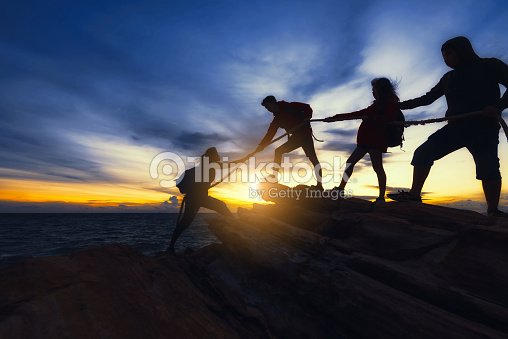 Climbing up on the mountain. : Stock Photo