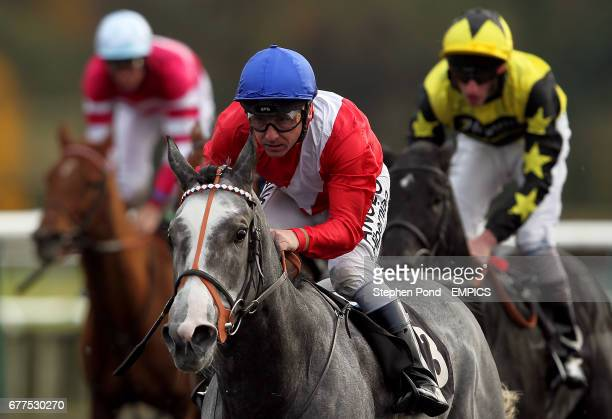 Clinical ridden by jockey Seb Sanders wins the EBF Normandie Stud Fleur De Lys Fillies' Stakes at Lingfield Racecourse