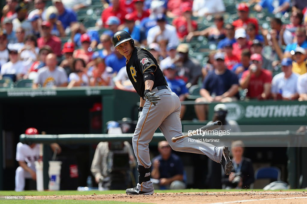<a gi-track='captionPersonalityLinkClicked' href=/galleries/search?phrase=Clint+Barmes&family=editorial&specificpeople=208223 ng-click='$event.stopPropagation()'>Clint Barmes</a> #12 of the Pittsburgh Pirates at Rangers Ballpark in Arlington on September 11, 2013 in Arlington, Texas.