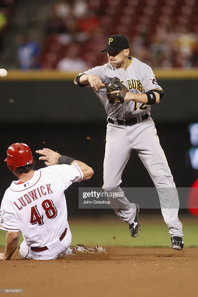 <a gi-track='captionPersonalityLinkClicked' href=/galleries/search?phrase=Clint+Barmes&family=editorial&specificpeople=208223 ng-click='$event.stopPropagation()'>Clint Barmes</a> #12 of the Pittsburgh Pirates attempts the double play in front of a sliding <a gi-track='captionPersonalityLinkClicked' href=/galleries/search?phrase=Ryan+Ludwick&family=editorial&specificpeople=834386 ng-click='$event.stopPropagation()'>Ryan Ludwick</a> #48 of the Cincinnati Reds during their game at Great American Ball Park on September 10, 2012 in Cincinnati, Ohio. The Reds defeated the Pirates 4-3 in 14 innings.