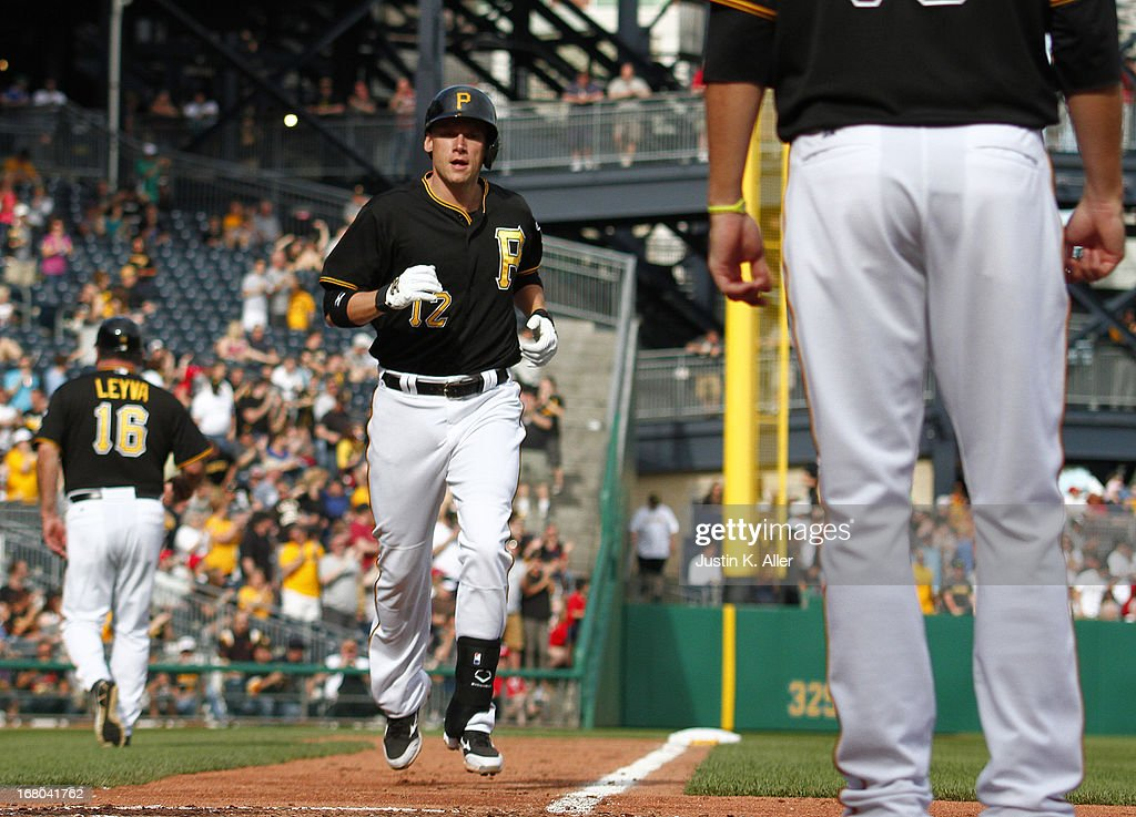 <a gi-track='captionPersonalityLinkClicked' href=/galleries/search?phrase=Clint+Barmes&family=editorial&specificpeople=208223 ng-click='$event.stopPropagation()'>Clint Barmes</a> #12 of the Pittsburgh Pirates celebrates after hitting a two run home run in the fifth inning against the Washington Nationals during the game on May 4, 2013 at PNC Park in Pittsburgh, Pennsylvania.