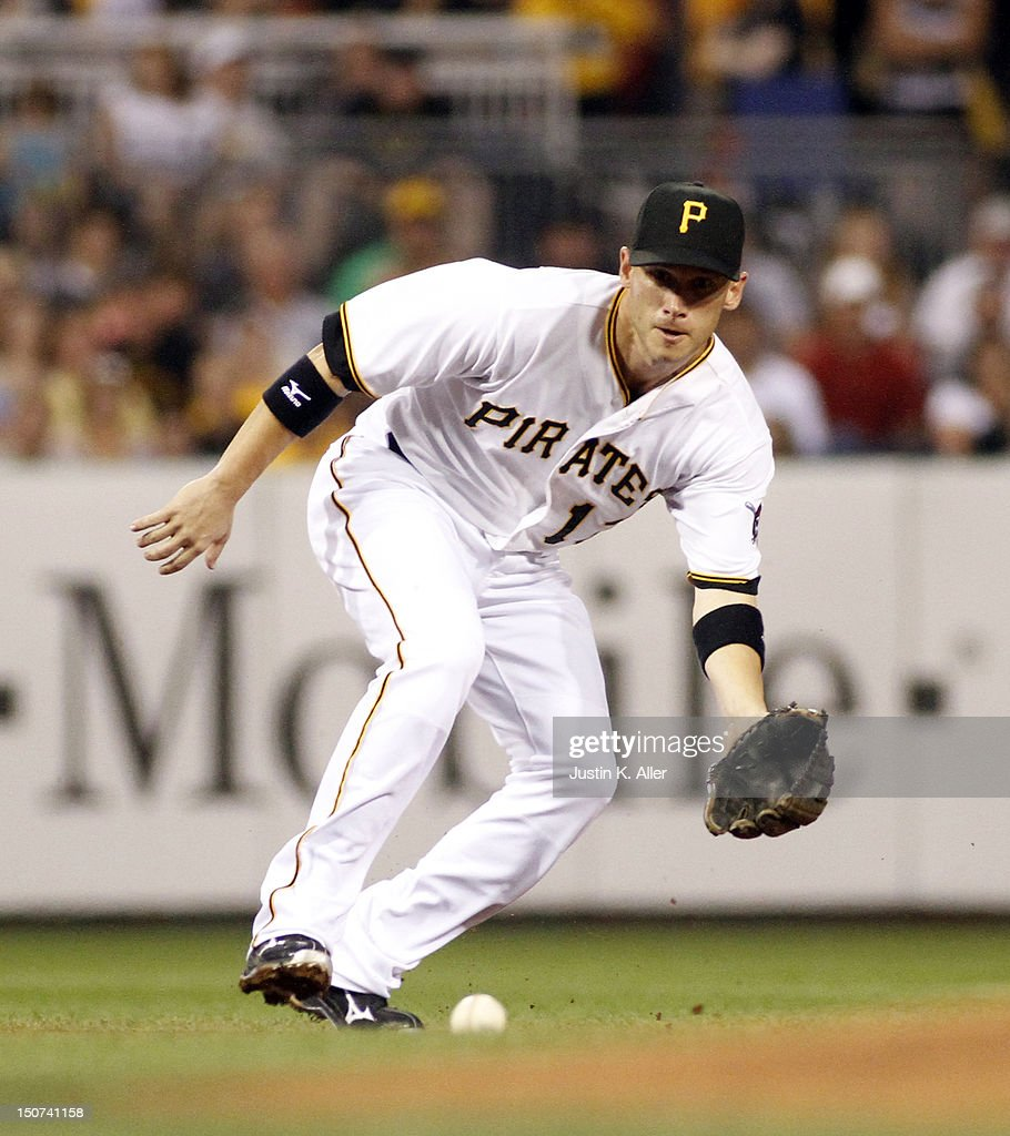 <a gi-track='captionPersonalityLinkClicked' href=/galleries/search?phrase=Clint+Barmes&family=editorial&specificpeople=208223 ng-click='$event.stopPropagation()'>Clint Barmes</a> #12 of the Pittsburgh Pirates fields a ground ball against the Milwaukee Brewers during the game on August 25, 2012 at PNC Park in Pittsburgh, Pennsylvania.
