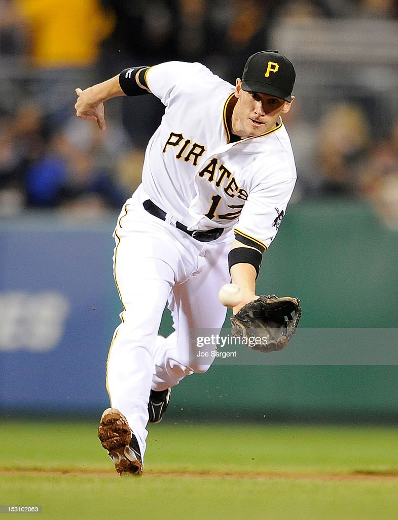 <a gi-track='captionPersonalityLinkClicked' href=/galleries/search?phrase=Clint+Barmes&family=editorial&specificpeople=208223 ng-click='$event.stopPropagation()'>Clint Barmes</a> #12 of the Pittsburgh Pirates fields a ground ball hit by Zack Cozart #2 of the Cincinnati Reds on September 29, 2012 at PNC Park in Pittsburgh, Pennsylvania.