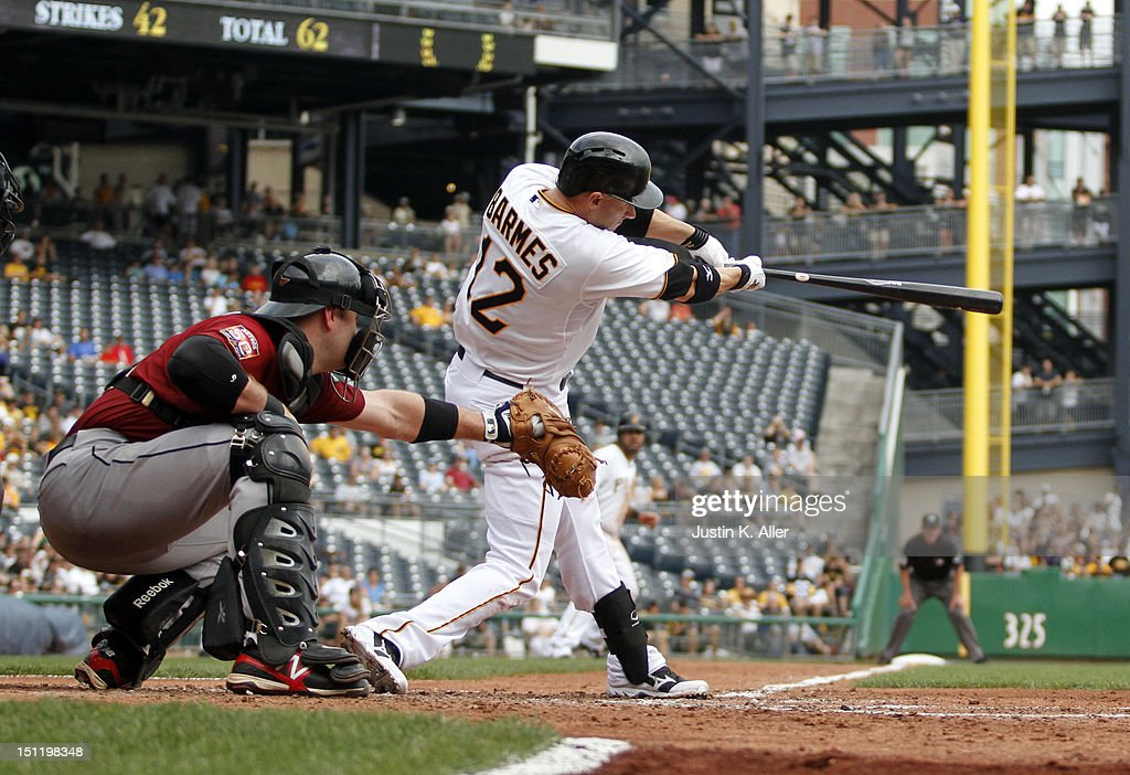 <a gi-track='captionPersonalityLinkClicked' href=/galleries/search?phrase=Clint+Barmes&family=editorial&specificpeople=208223 ng-click='$event.stopPropagation()'>Clint Barmes</a> #12 of the Pittsburgh Pirates hits a RBI single in the fifth inning against the Houston Astros during the game on September 3, 2012 at PNC Park in Pittsburgh, Pennsylvania.