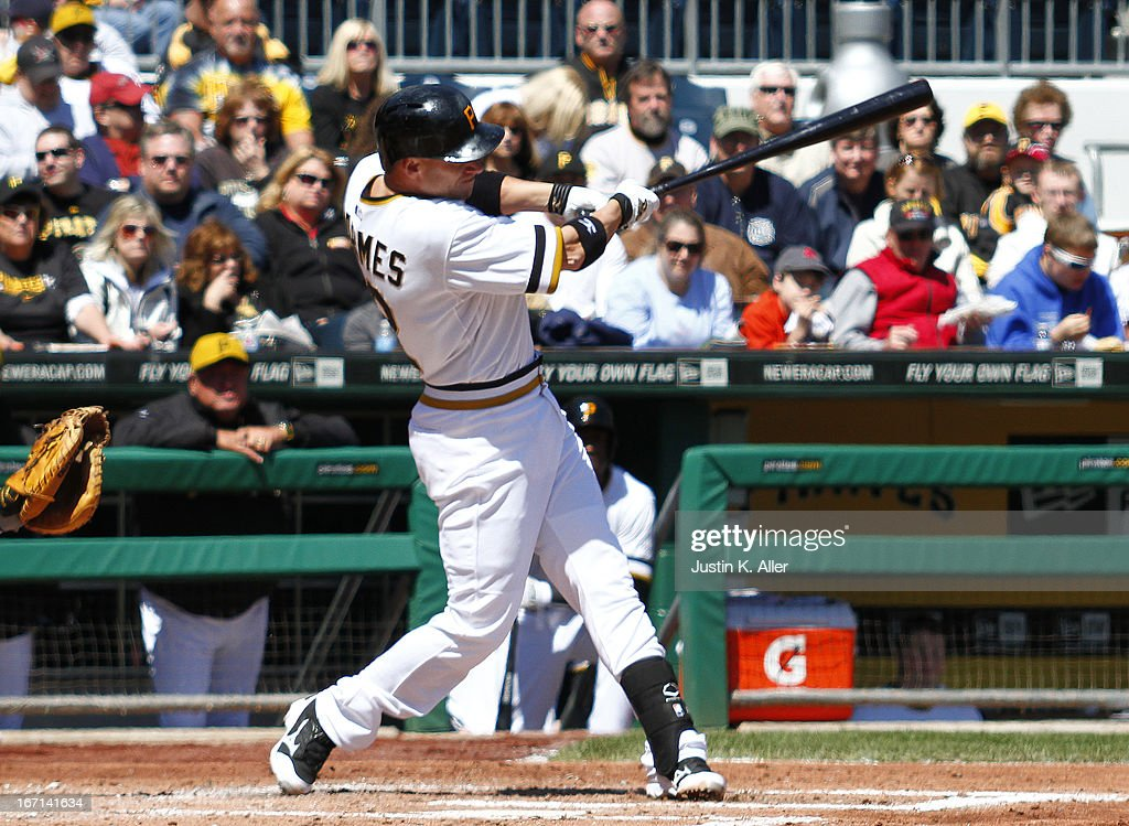 Clint Barmes #12 of the Pittsburgh Pirates hits an RBI single in the second inning against the Atlanta Braves during the game on April 21, 2013 at PNC Park in Pittsburgh, Pennsylvania.