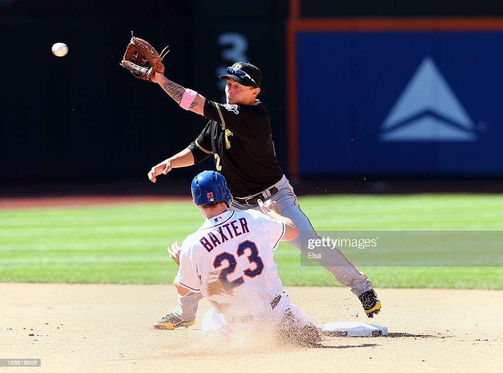 <a gi-track='captionPersonalityLinkClicked' href=/galleries/search?phrase=Clint+Barmes&family=editorial&specificpeople=208223 ng-click='$event.stopPropagation()'>Clint Barmes</a> #12 of the Pittsburgh Pirates is unable to catch Mike Baxter #23 of the New York Mets stealing on May 12, 2013 at Citi Field in the Flushing neighborhood of the Queens borough of New York City.