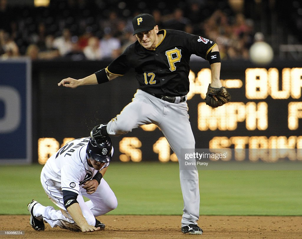 <a gi-track='captionPersonalityLinkClicked' href=/galleries/search?phrase=Clint+Barmes&family=editorial&specificpeople=208223 ng-click='$event.stopPropagation()'>Clint Barmes</a> #12 of the Pittsburgh Pirates jumps over Yasmani Grandal #12 of the San Diego Padres as he turns a double play during the third inning of a baseball game at Petco Park on August 21, 2012 in San Diego, California.