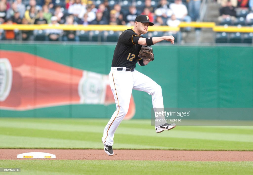 <a gi-track='captionPersonalityLinkClicked' href=/galleries/search?phrase=Clint+Barmes&family=editorial&specificpeople=208223 ng-click='$event.stopPropagation()'>Clint Barmes</a> #12 of the Pittsburgh Pirates throws to first base against the Milwaukee Brewers at PNC Park on May 14, 2013 in Pittsburgh, Pennsylvania.