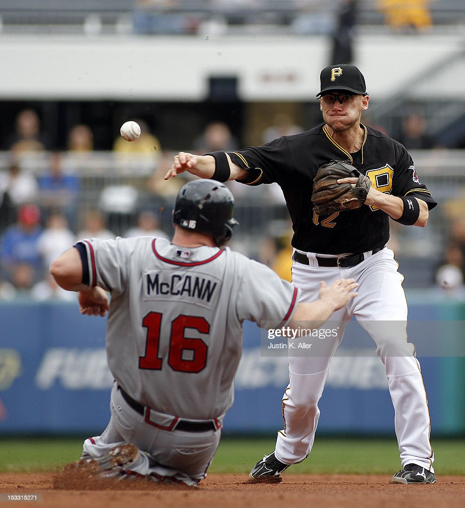 <a gi-track='captionPersonalityLinkClicked' href=/galleries/search?phrase=Clint+Barmes&family=editorial&specificpeople=208223 ng-click='$event.stopPropagation()'>Clint Barmes</a> #12 of the Pittsburgh Pirates turns a double play against <a gi-track='captionPersonalityLinkClicked' href=/galleries/search?phrase=Brian+McCann&family=editorial&specificpeople=593065 ng-click='$event.stopPropagation()'>Brian McCann</a> #16 of the Atlanta Braves during the game on October 3, 2012 at PNC Park in Pittsburgh, Pennsylvania.