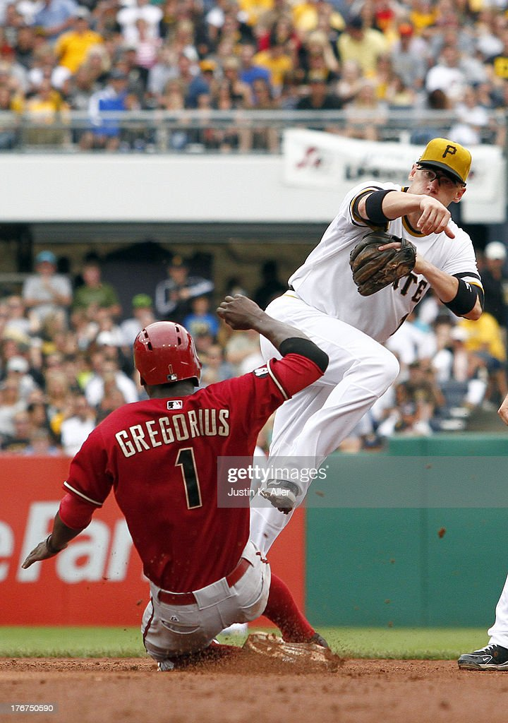 <a gi-track='captionPersonalityLinkClicked' href=/galleries/search?phrase=Clint+Barmes&family=editorial&specificpeople=208223 ng-click='$event.stopPropagation()'>Clint Barmes</a> #12 of the Pittsburgh Pirates turns a double play against <a gi-track='captionPersonalityLinkClicked' href=/galleries/search?phrase=Didi+Gregorius&family=editorial&specificpeople=8945889 ng-click='$event.stopPropagation()'>Didi Gregorius</a> #1 of the Arizona Diamondbacks during the game on August 18, 2013 at PNC Park in Pittsburgh, Pennsylvania.