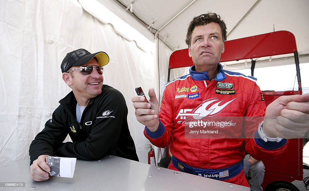 <a gi-track='captionPersonalityLinkClicked' href=/galleries/search?phrase=Clint+Bowyer&family=editorial&specificpeople=537951 ng-click='$event.stopPropagation()'>Clint Bowyer</a> (L), co-driver of the #56 RK Motors Ferrari 458, talks with owner/driver <a gi-track='captionPersonalityLinkClicked' href=/galleries/search?phrase=Michael+Waltrip&family=editorial&specificpeople=204621 ng-click='$event.stopPropagation()'>Michael Waltrip</a> during practice at Daytona International Speedway on January 24, 2013 in Daytona Beach, Florida.
