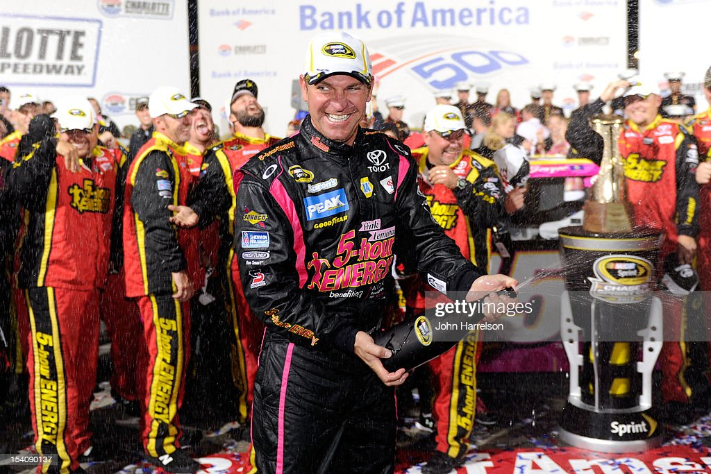 <a gi-track='captionPersonalityLinkClicked' href=/galleries/search?phrase=Clint+Bowyer&family=editorial&specificpeople=537951 ng-click='$event.stopPropagation()'>Clint Bowyer</a>, driver of the #15 5-Hour Energy Benefiting Avon Foundation for Women Toyota, celebrates in Victory Lane after winning the NASCAR Sprint Cup Series Bank of America 500 at Charlotte Motor Speedway in Concord, North Carolina.