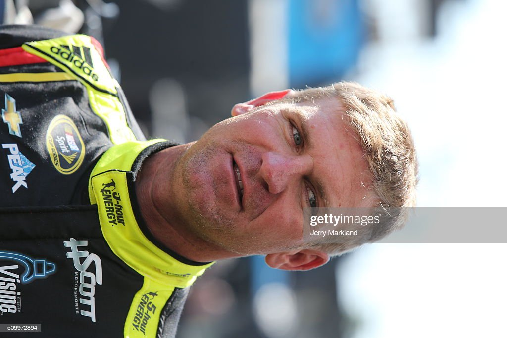 <a gi-track='captionPersonalityLinkClicked' href=/galleries/search?phrase=Clint+Bowyer&family=editorial&specificpeople=537951 ng-click='$event.stopPropagation()'>Clint Bowyer</a>, driver of the #15 5-hour Energy Chevrolet, looks on in the garage area during practice for the NASCAR Sprint Cup Series Daytona 500 at Daytona International Speedway on February 13, 2016 in Daytona Beach, Florida.