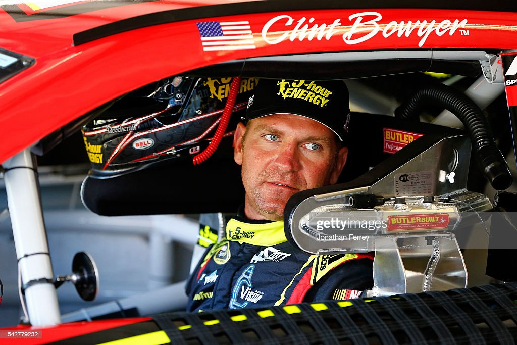 <a gi-track='captionPersonalityLinkClicked' href=/galleries/search?phrase=Clint+Bowyer&family=editorial&specificpeople=537951 ng-click='$event.stopPropagation()'>Clint Bowyer</a>, driver of the #15 5-hour Energy Chevrolet, sits in his car during practice for the NASCAR Sprint Cup Series Toyota/Save Mart 350 at Sonoma Raceway on June 24, 2016 in Sonoma, California.