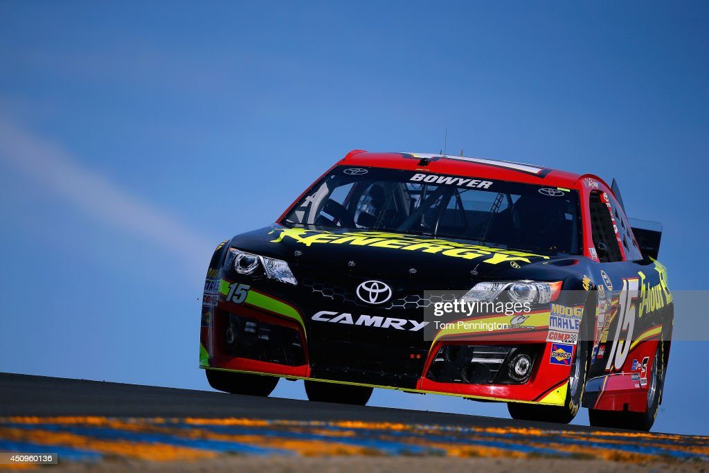 Clint Bowyer driver of the 5hour ENERGY Toyota drives during practice for the NASCAR Sprint Cup Series Toyota/Save Mart 350 at Sonoma Raceway on June...