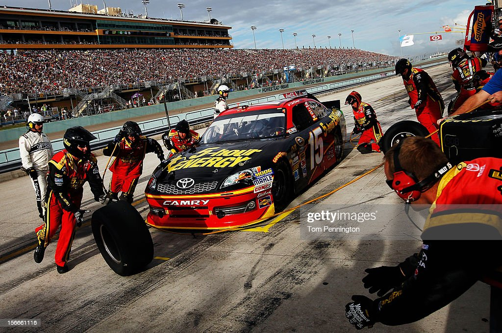 Clint Bowyer, driver of the #15 5-hour Energy Toyota, pits during the NASCAR Sprint Cup Series Ford EcoBoost 400 at Homestead-Miami Speedway on November 18, 2012 in Homestead, Florida.