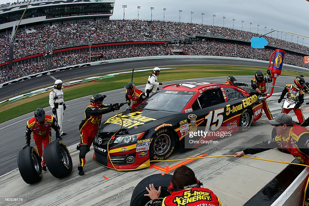 Clint Bowyer, driver of the #15 5-hour ENERGY Toyota, pits during the NASCAR Sprint Cup Series Daytona 500 at Daytona International Speedway on February 24, 2013 in Daytona Beach, Florida.
