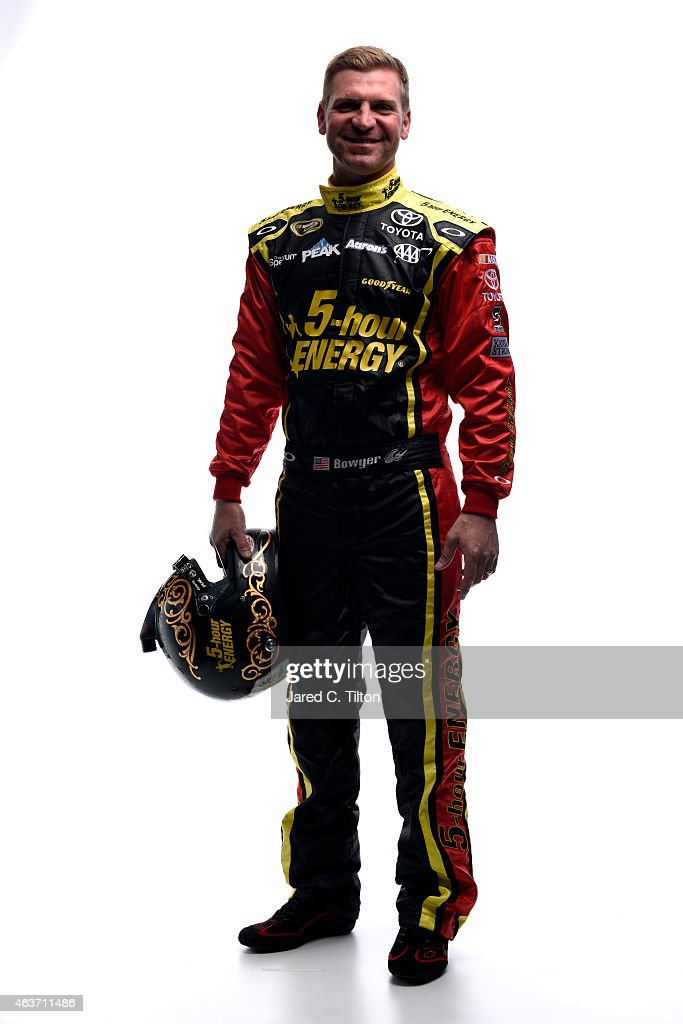 <a gi-track='captionPersonalityLinkClicked' href=/galleries/search?phrase=Clint+Bowyer&family=editorial&specificpeople=537951 ng-click='$event.stopPropagation()'>Clint Bowyer</a>, driver of the #15 5-hour ENERGY Toyota, poses for a portrait during the 2015 NASCAR Media Day at Daytona International Speedway on February 12, 2015 in Daytona Beach, Florida.
