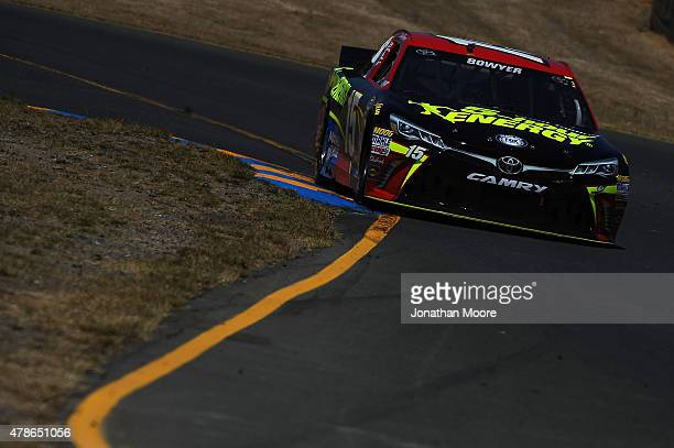 Clint Bowyer driver of the 5Hour Energy Toyota practices for the NASCAR Sprint Cup Series Toyota/Save Mart 350 at Sonoma Raceway on June 26 2015 in...