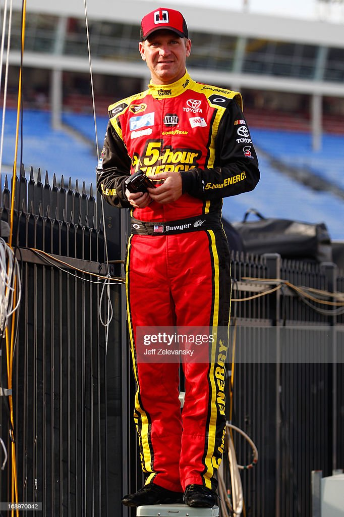 <a gi-track='captionPersonalityLinkClicked' href=/galleries/search?phrase=Clint+Bowyer&family=editorial&specificpeople=537951 ng-click='$event.stopPropagation()'>Clint Bowyer</a>, driver of the #15 5-hour ENERGY Toyota, prepares to drive during qualifying for the NASCAR Sprint Cup Series All-Star Race at Charlotte Motor Speedway on May 17, 2013 in Concord, North Carolina.