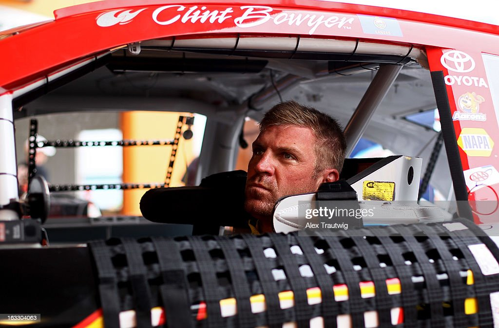<a gi-track='captionPersonalityLinkClicked' href=/galleries/search?phrase=Clint+Bowyer&family=editorial&specificpeople=537951 ng-click='$event.stopPropagation()'>Clint Bowyer</a>, driver of the #15 5-hour Energy Toyota, sits in his car during NASCAR Sprint Cup Series testing at Las Vegas Motor Speedway on March 7, 2013 in Las Vegas, Nevada.