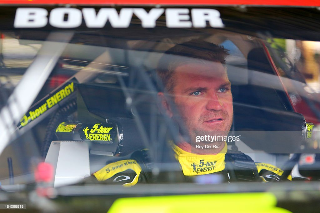 <a gi-track='captionPersonalityLinkClicked' href=/galleries/search?phrase=Clint+Bowyer&family=editorial&specificpeople=537951 ng-click='$event.stopPropagation()'>Clint Bowyer</a>, driver of the #15 5-Hour Energy Toyota, sits in his car during practice for the NASCAR Sprint Cup Series Pure Michigan 400 at Michigan International Speedway on August 15, 2015 in Brooklyn, Michigan.