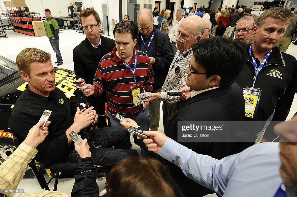Clint Bowyer driver of the 5Hour Energy Toyota speaks with the media during the 2012 NASCAR Sprint Cup Series Media Tour hosted by Charlotte Motor...