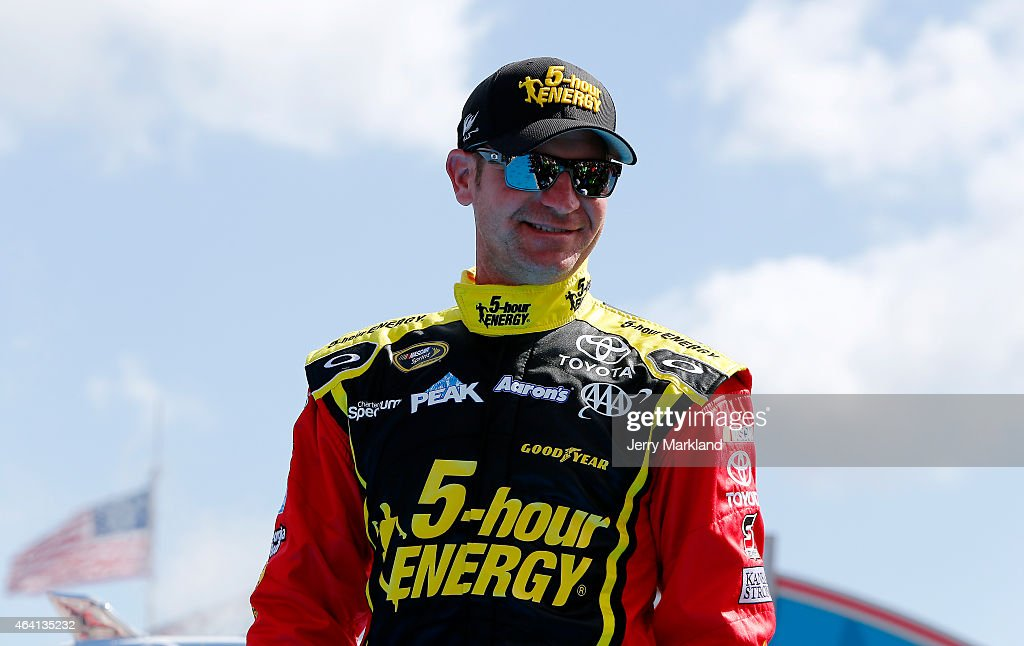 <a gi-track='captionPersonalityLinkClicked' href=/galleries/search?phrase=Clint+Bowyer&family=editorial&specificpeople=537951 ng-click='$event.stopPropagation()'>Clint Bowyer</a>, driver of the #15 5-hour ENERGY Toyota, takes part in pre-race ceremonies for the NASCAR Sprint Cup Series 57th Annual Daytona 500 at Daytona International Speedway on February 22, 2015 in Daytona Beach, Florida.
