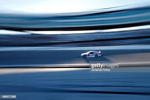 Clint Bowyer driver of the Maxwell House Toyota races during the NASCAR Sprint Cup Series AAA Texas 500 at Texas Motor Speedway on November 8 2015 in...
