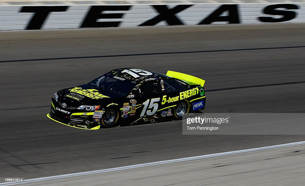 <a gi-track='captionPersonalityLinkClicked' href=/galleries/search?phrase=Clint+Bowyer&family=editorial&specificpeople=537951 ng-click='$event.stopPropagation()'>Clint Bowyer</a>, driver of the #15 Sour Apple Extra Strength 5-Hour ENERGY Toyota, practices for the NASCAR Sprint Cup Series AAA Texas 500 at Texas Motor Speedway on November 2, 2013 in Fort Worth, Texas.