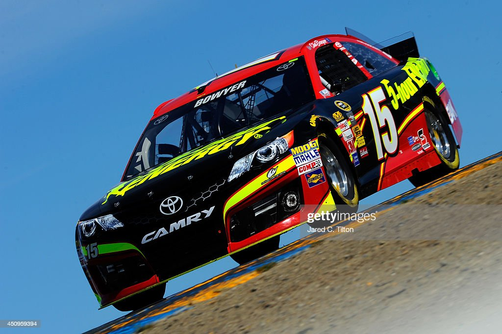 <a gi-track='captionPersonalityLinkClicked' href=/galleries/search?phrase=Clint+Bowyer&family=editorial&specificpeople=537951 ng-click='$event.stopPropagation()'>Clint Bowyer</a> drives the #15 5-hour ENERGY Toyota during practice for the NASCAR Sprint Cup Series Toyota/Save Mart 350 at Sonoma Raceway on June 20, 2014 in Sonoma, California.