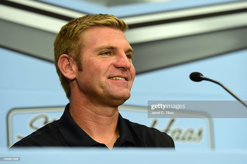 <a gi-track='captionPersonalityLinkClicked' href=/galleries/search?phrase=Clint+Bowyer&family=editorial&specificpeople=537951 ng-click='$event.stopPropagation()'>Clint Bowyer</a>, newest driver for Stewart-Haas Racing, speaks with the media during a press conference announcing the retirement of Tony Stewart on September 30, 2015 in Kannapolis, North Carolina. Stewart has decided his 18th year in the NASCAR Sprint Cup Series will be his last. The three-time series champion will retire following the 2016 season, whereupon <a gi-track='captionPersonalityLinkClicked' href=/galleries/search?phrase=Clint+Bowyer&family=editorial&specificpeople=537951 ng-click='$event.stopPropagation()'>Clint Bowyer</a> will take the wheel of the No. 14 machine beginning in 2017.