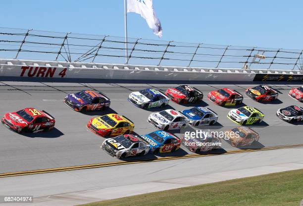 Clint Bowyer StewartHaas Racing Haas Automation Demo Days Ford Fusion leads during the Monster Energy NASCAR Cup Series race on May 7 2017 at...