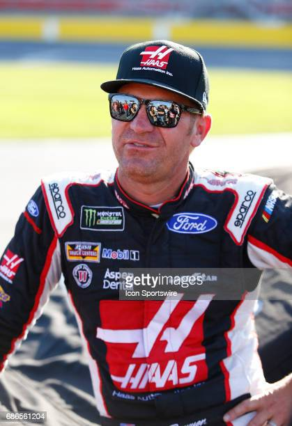 Clint Bowyer StewartHaas Racing HaasAutomation Ford Fusion looks on prior to the Monster Energy Open on May 20 2017 at the Charlotte Motor Speedway...