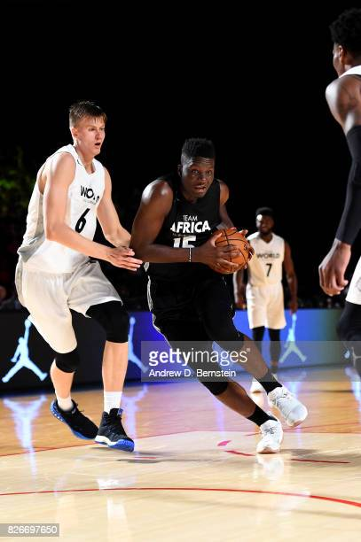 Clint Capela of Team Africa drives to the basket against Team World in the 2017 Africa Game as part of the Basketball Without Borders Africa at the...
