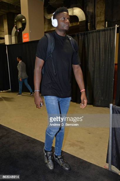 Clint Capela of the Houston Rockets arrives at the arena before the game against the Golden State Warriors on October 17 2017 at ORACLE Arena in...
