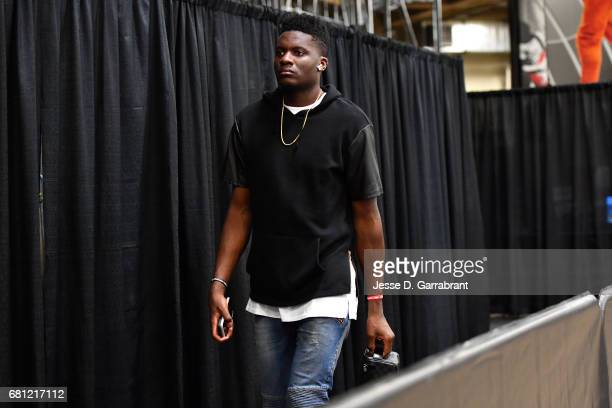 Clint Capela of the Houston Rockets arrives to the arena before the game against the San Antonio Spurs during Game Five of the Western Conference...