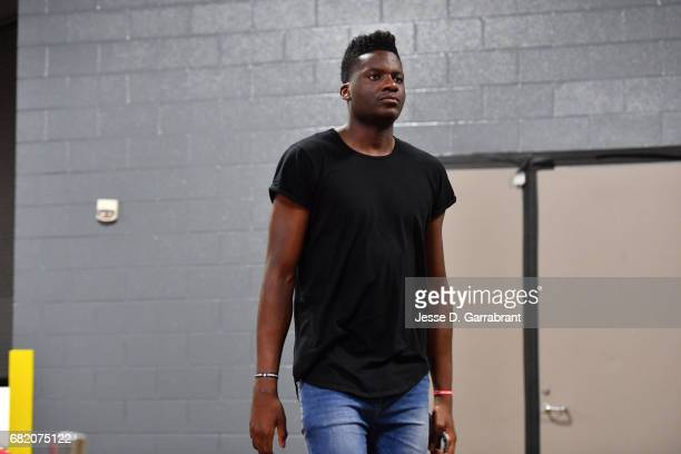 Clint Capela of the Houston Rockets arrives to the arena before the game against the San Antonio Spurs during Game Six of the Western Conference...